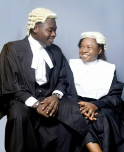 Mr B.A. Nwadiogu smiling at his mother, Mrs U.O. Nwadiogu both in their legal robe