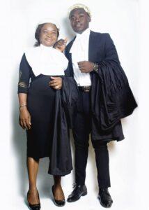 Mrs U.O. Nwadiogu and Mr B.A. Nwadiogu in their legal wear
